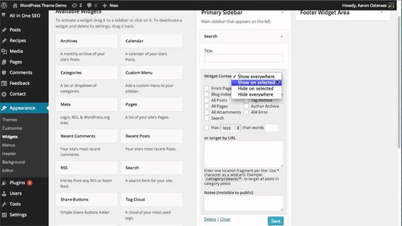 Display Widgets plugin WordPress