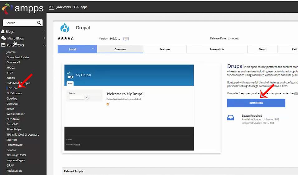 Drupal - Come installare il CMS Drupal 9 con il web server AMPPS